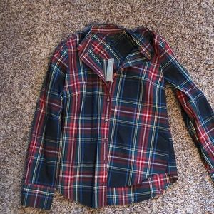NWT plaid navy and red button down from J Crew